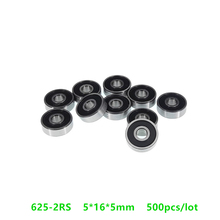 500pcs/lot  625-2RS 625RS Rubber sealed deep groove ball bearings 5*16*5 mm