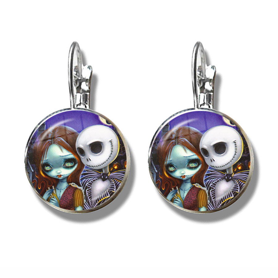 Xmas French Hooks Earrings Jack Skellington And Sally Nightmare Before Chrismas Jewelry Halloween Valentine's Day Gift 4