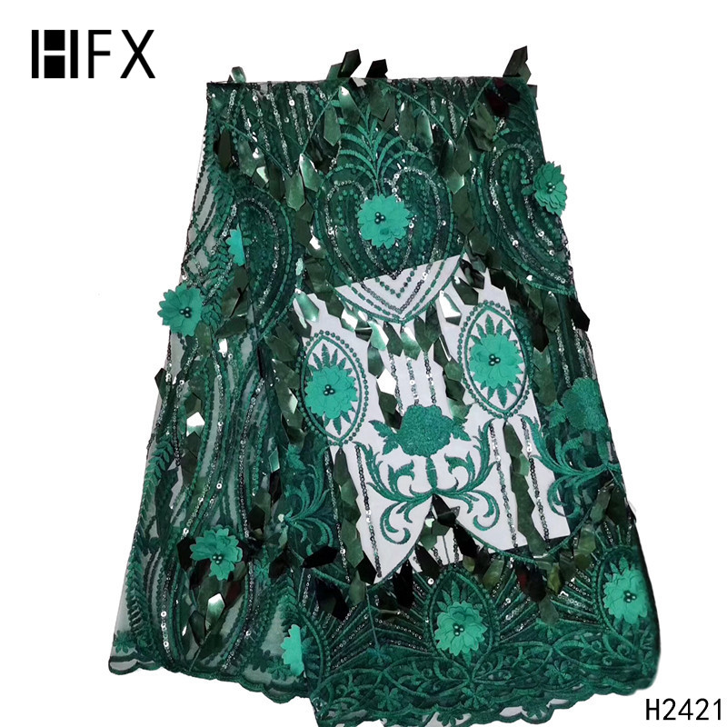HFX New Designs Big Flowers African French Lace Fabric Green Embroidery Nigeria Tulle Net Lace 2019 With Beads For Party X2421