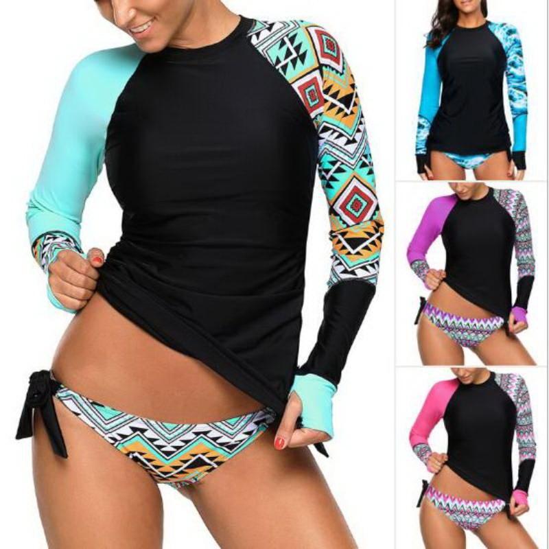 Женский купальник для серфинга, Рашгард с длинным рукавом, рубашки для езды на велосипеде, топ для серфинга, ретро принт, рубашка для бега, ку...