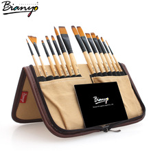 14pcs paint brushes set acrylic watercolor brushes with pencil case for school artists painting drawing
