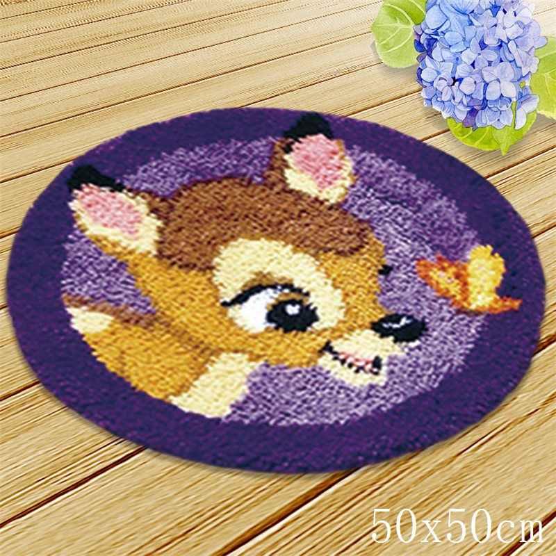 Jednorożec poduszka przycisk pakiet dywan z haftem DIY Foamiran do robótki zatrzask dywanik na haki Cartoon zwierząt szydełka dywan zestawy