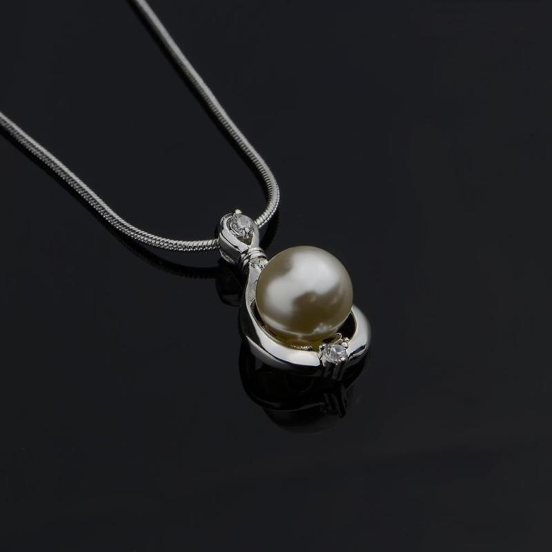 Alloy Necklaces For Women Party Fashion Classic Pearl Pendant Necklaces color white a good gift for your lover family friend image