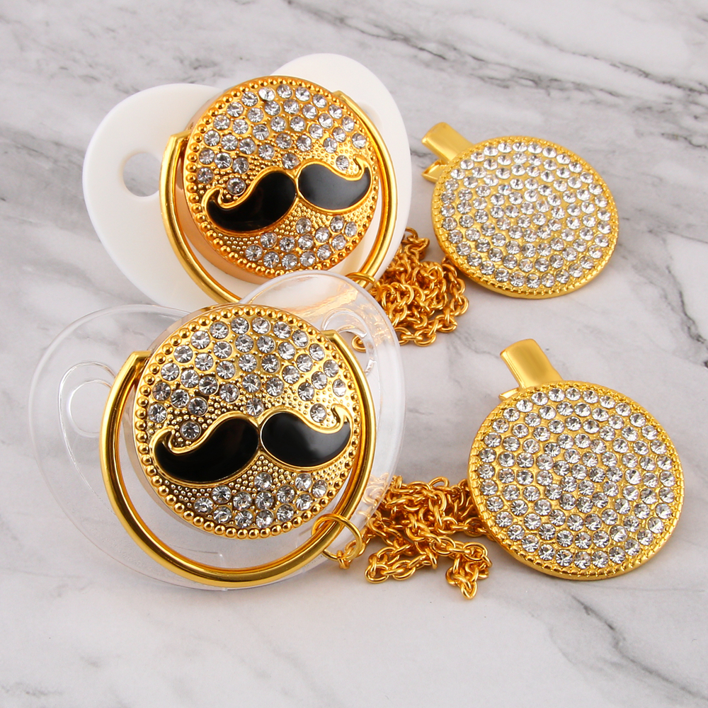 Mustache Bling Pacifier Chain Clip Beaded Luxury Pacifier Holder Elegant Rhinestone Pacifier For Boy Drop Shipping Wholesale