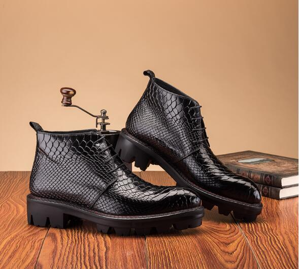 Autumn Winter Genuine Leather  Snake Ankle Boots Fashion Lace-up Thick Bottom Dress Shoes  High Top Round Toe Oxford
