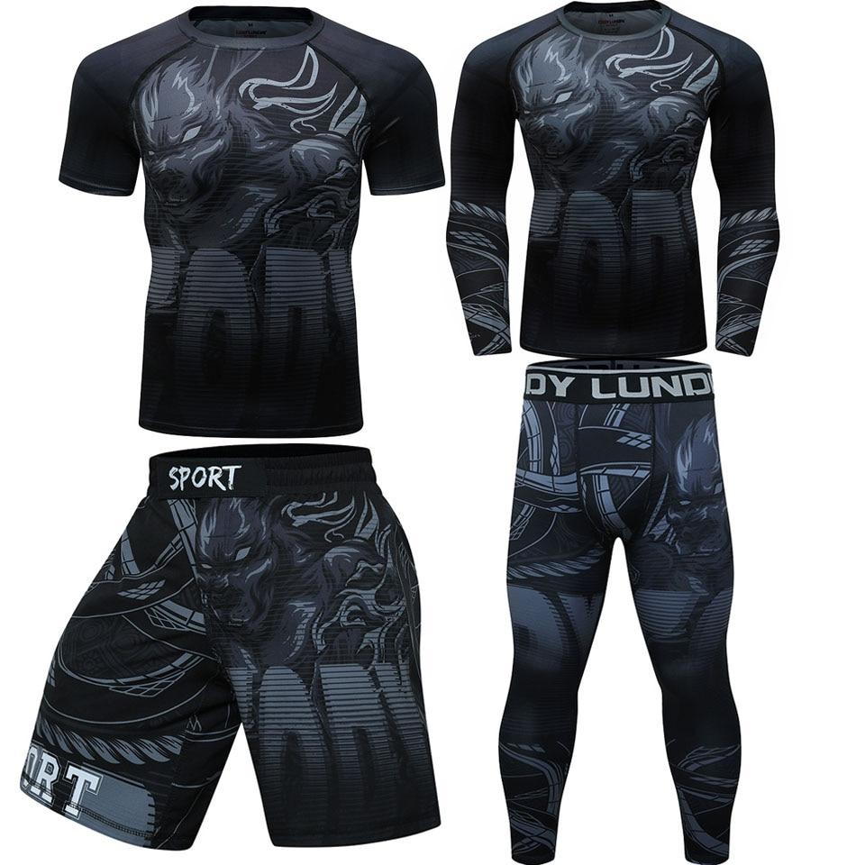 Rashguard Mma Black Roaring Tiger Tight Sets Fighting Boxing Jerseys Muay Thai Shorts Mma Clothing Rash Guard Jiu Jitsu T Shirt
