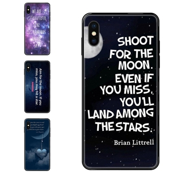 Black Soft TPU Cell Phone Case Sky Moon Infinity Quote Outlet For iPhone SE2020 11 12 Plus Pro X XS Max XR 8 7 6S SE 5 5C 5S image