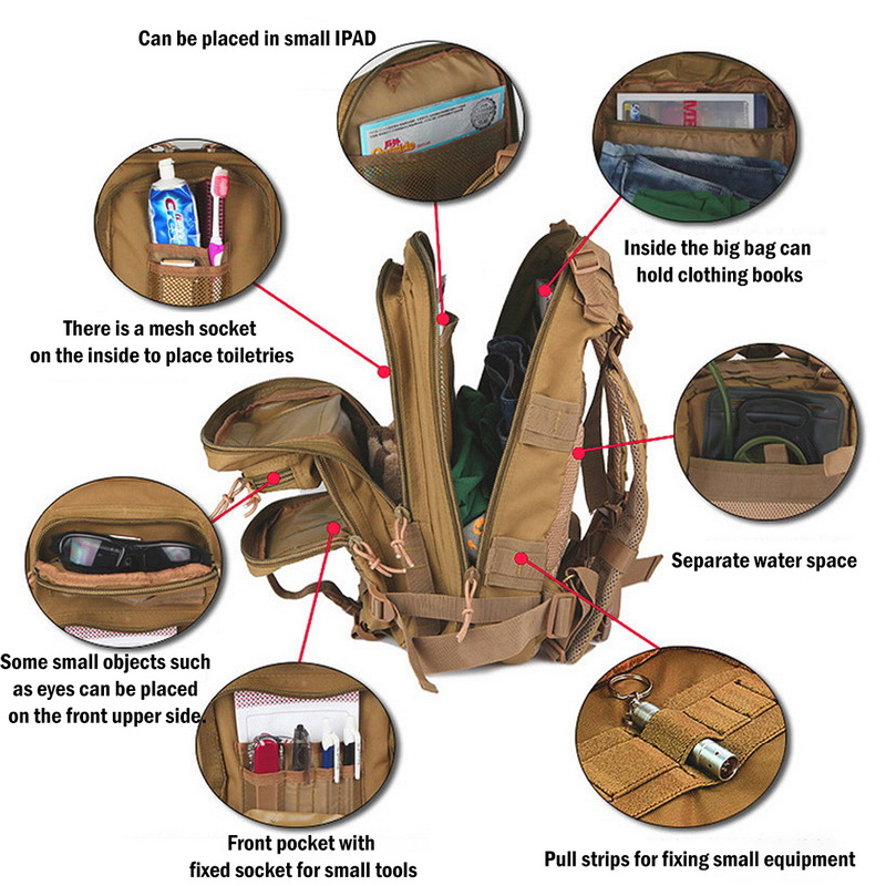 Nylon Tactical Backpack Military Backpack Waterproof Army Rucksack Outdoor Camping Hiking Fishing Large Capacity Bags