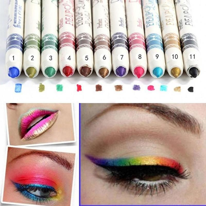 New 12pcs Shimmer Eyeliner Pencil Long Lasting Waterproof Women Colorful Eyebrow Lipliner Pencils Eyes Maquiagem Crayon Eyeliner