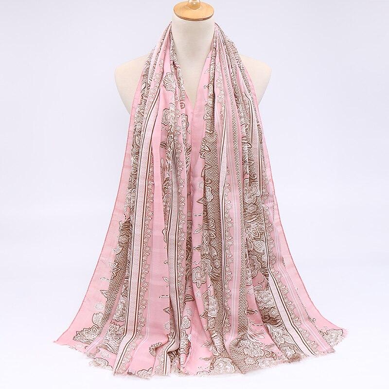 Spring new cotton scarf hijab flower printed scarf double-row summer pashmina popular scarves headband  hot muslim turban shawls