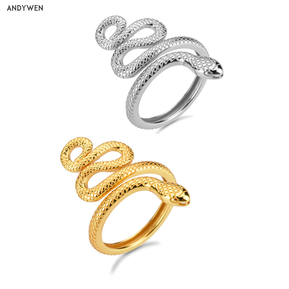 ANDYWEN 925 Sterling Silver Gold Adjustable Snake Rings Big Animal Resizable Luxury New Round Circle Women Fine Ring Jewelry