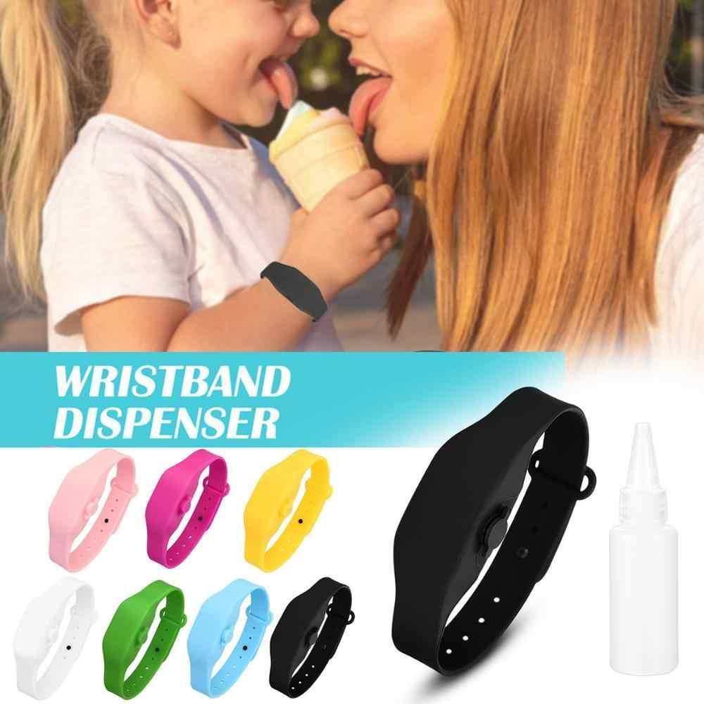 1Set de dispensador de manos líquido para chico adulto, muñequera, banda para la muñeca, Gel sin desinfectante completo, pulsera desinfectante de manos, nuevo
