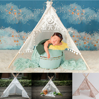 Newborn Photography Props for Girls Vintage Lace Tent Accessoire Bebe Shooting Photo Studio Baby Props Months Posing Tent Basket