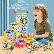 203pcs Electric Gears 3D Model Building Blocks Plastic Kid House Blocks Bricks Educational Construction Toys For Children Gifts