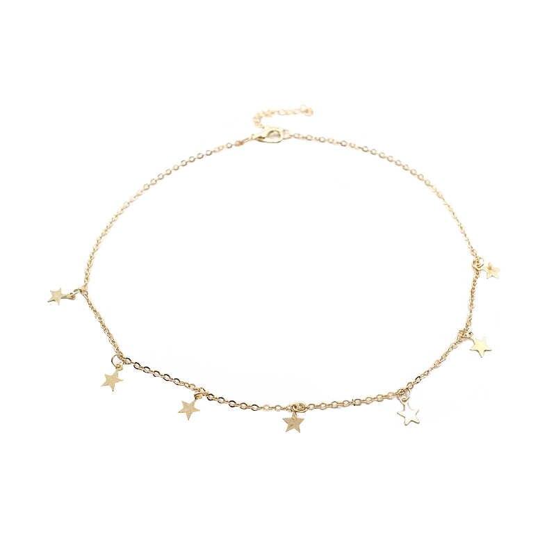 Kobiety złoty kolor łańcuch gwiazda Choker naszyjnik Collana Kolye Bijoux Collares Mujer gargantilha Collier Femme