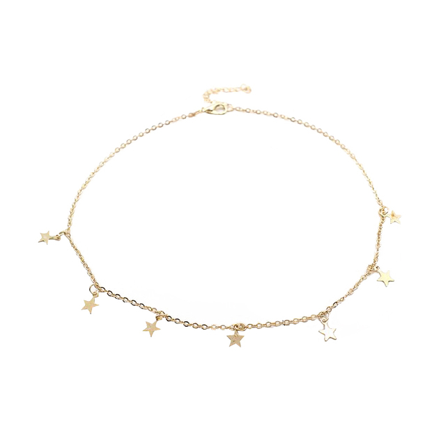 Women Gold Color Chain Star Choker Necklace Collana Kolye Bijoux Collares Mujer gargantilha Collier Femme Accessories Jewellery & Watches Women's Fashion