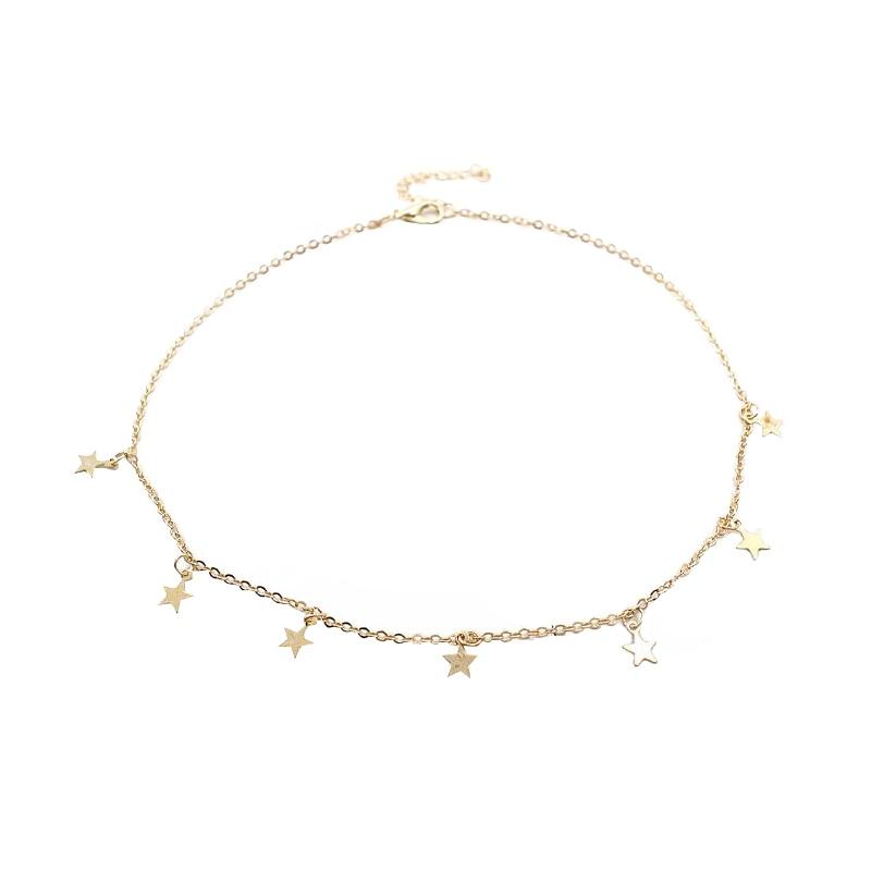 Women Gold Silver Chain Star Choker Necklace Collana Kolye Bijoux Collares Mujer gargantilha Collier Femme 5