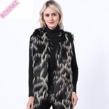 цена на Fur   Faux Fur fur vest women Fox Fur JACKET WITH FUR SLEEV vest fur BOXINKELEOPARD FAUX COAT Faux Leather jacket women red fur