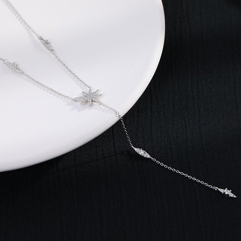 Trendy Pendant 925 Sterling Chain Necklace Maple leaf Shape AAA Zircon Shiny Jewelry For Women Holiday Gift Mother Gift