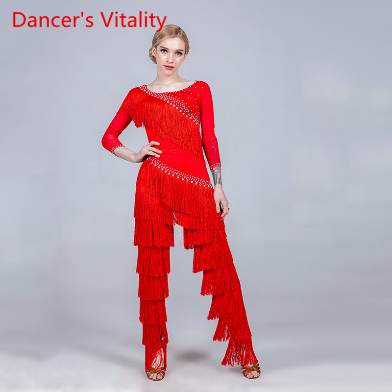 Women Tassel Glitter Rhinestone Top Pants Trousers Latin Dance Wear Rumba Samba Tango Cha Cha Dancing Competition Stage Outfits