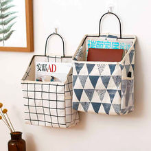 1 Pcs Hanging Storage Bag Cotton Linen Waterproof Organizer For Sundries Cosmetic Books Foldable Wall Hanging Organizador Bags fulllove 12 pockets 32 72cm linen storage bag number print navy hanging organizer for cosmetic books home storage