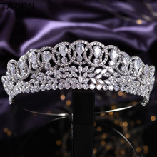 Elegant 5A+ Cubic Zirconia Wedding Bridal Tiaras and Crowns Pageant Queen Headpieces CZ Party Prom Hair Jewelry Accessories