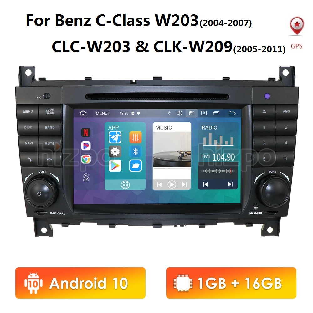 <font><b>Android</b></font> 10 7 Inch 2 Din IPS Car DVD Player For Mercedes Benz C-Class <font><b>W203</b></font> 2004-2007 CLC <font><b>W203</b></font> 2008-2010 W209 GPS Navigation WIFI image
