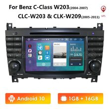 Android 10 7 pulgadas 2 Din IPS reproductor de DVD de coche para Mercedes Benz Clase C en W203 2004-2007 CIC W203 2008-2010 W209 navegación GPS WIFI