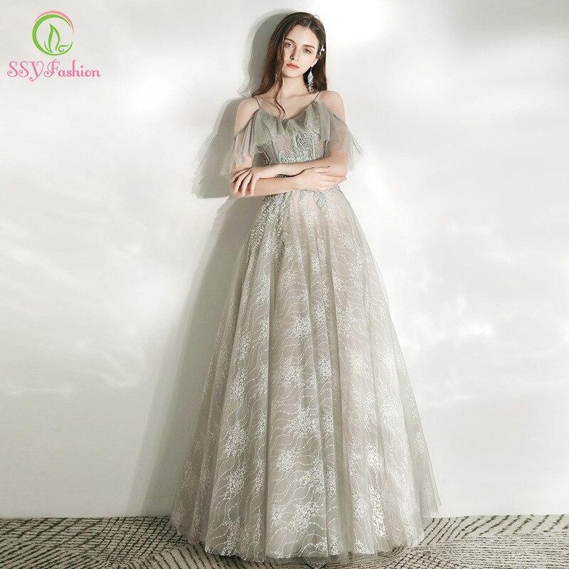 SSYFashion New Banquet Elegant Grey Evening Dress V-neck Strap Floor-length Lace Appliques Long Formal Prom Gown Vestidos
