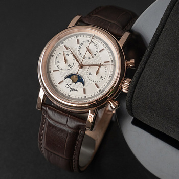 Watch For Man Chronograph Mechanical SUGESS Sapphire Automatic Moon Phase Date Waterproof Second Minunte Dial horloges mannen 2