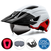 Bike-Helmet Sun-Visor VICTGOAL Goggle-Shield MTB LED USB with Men Urban Rechargeable