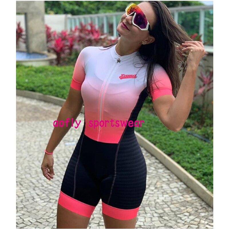 2021 xama pro feminino triathlon terno roupas ciclismo conjuntos de skinsuit macacão kits macaquinho ciclismo feminino gel maillot mujer roupas femininas com frete gratis  ciclismo feminino gel macacão triathlon 12