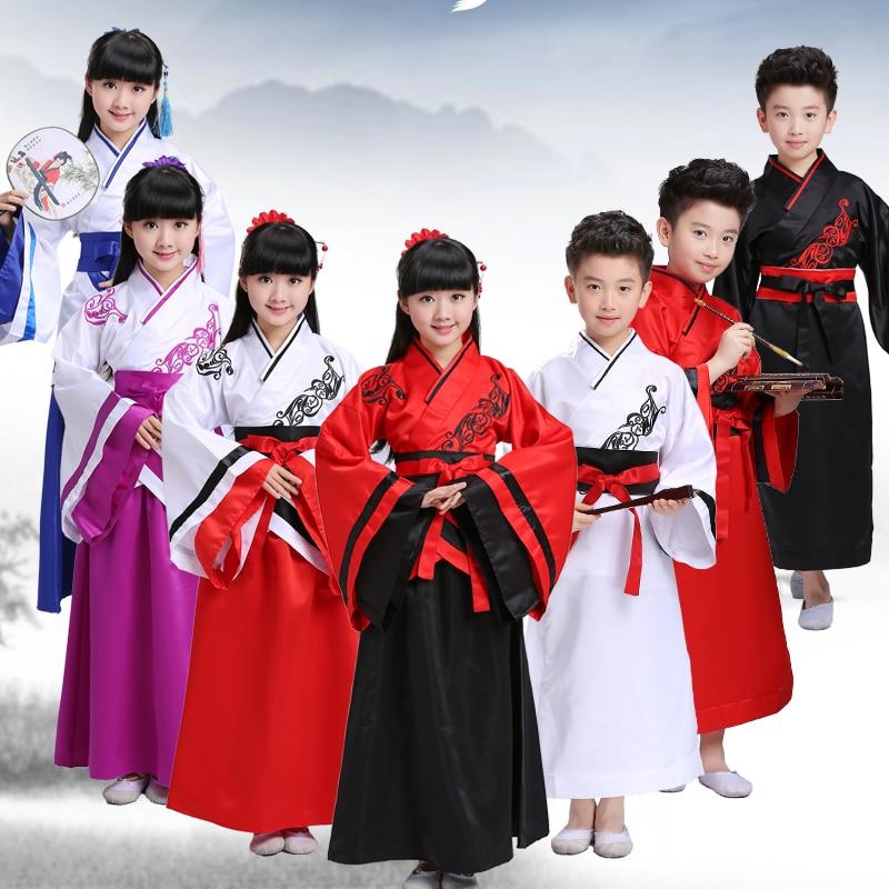 Chinese Traditional Folk Kids Dance Costumes Girls Boy Performance Ancient Embroidery Hanfu Kids New Year Costume Cosplay Hanfu