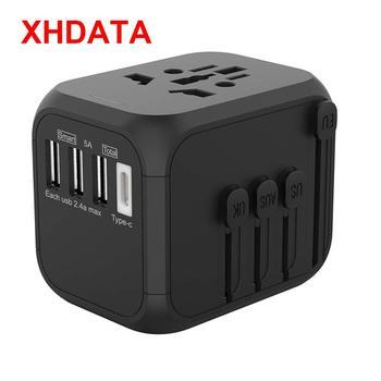 XHDATA 309T uniwersalna ładowarka turystyczna wtyczka konwersji 100-250V 5A międzynarodowa szybka ładowarka 3 porty USB + Adapter typu C tanie i dobre opinie NONE Akcesoria do ładowarki CN (pochodzenie) P-301 Black 100V-250V Max 250V-6A 1500W GB 2099 3-2015 CE EMC ROHS FCC LVD