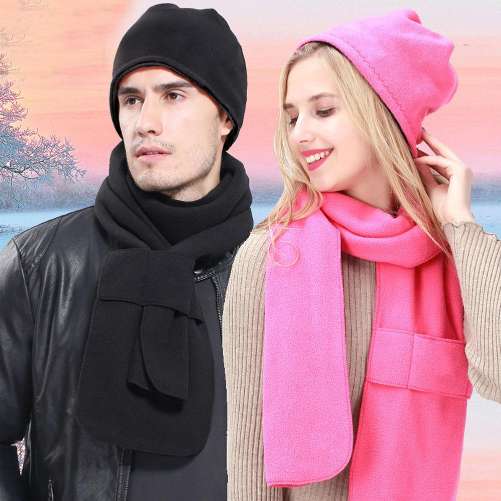 2PCS/Set Autumn Winter Fleece Hat Scarf Set For Outdoor Sports Riding Hiking Warm Thick Hat Scarf Couple Clothes Accessories 30E