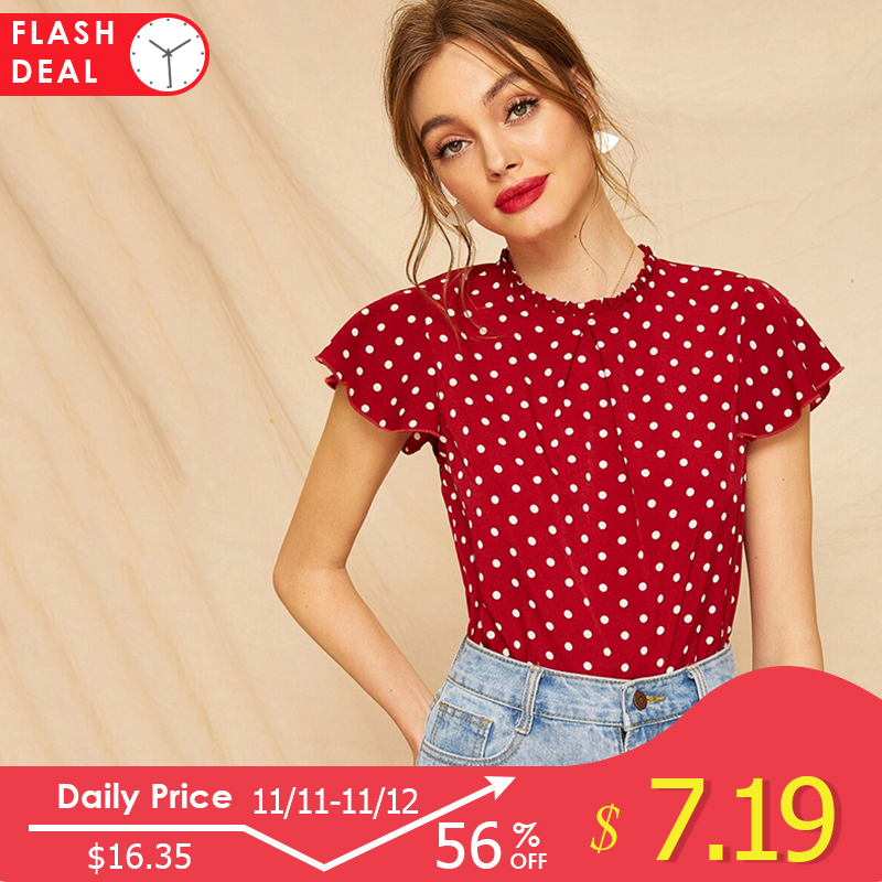 Dotfashion Butterfly Sleeve Polka Dot Frill Blouse Women Cute Cap Sleeve Top 2019 Summer Fashion Ladies Tops And Blouses