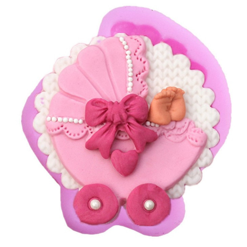 Sugarcraft Baby car Carriage Silicone mold Bow tie fondant mold cake decorating tools chocolate gumpaste mold for confectionery thumbnail