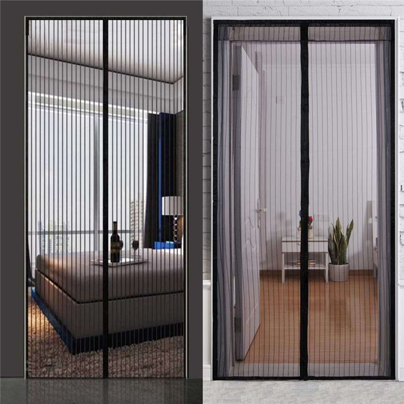 5 Sizes Black Polyester Mosquito-proof moths Screen Soft Yarn Door Curtain Fly Insects Curtain Mute Encryption Magnetic Net Door