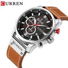 купить CURREN Luxury Quartz Wristwatch Military Brown Leather Waterproof Automatic Watches Calendar Business Clock Relogio Masculino по цене 1432.24 рублей