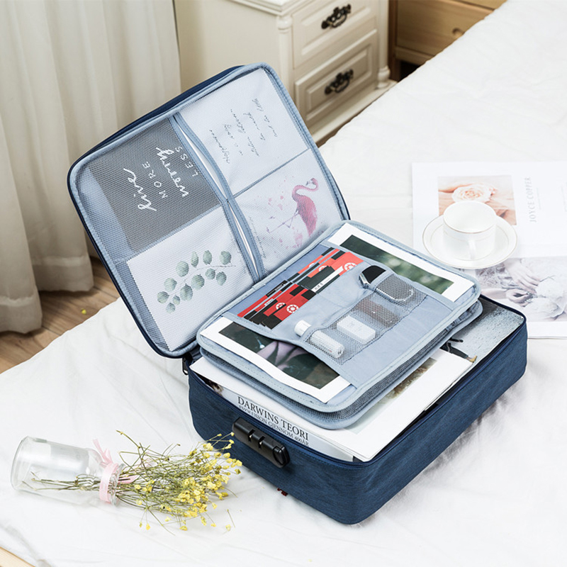 Waterproof Multi-layer Document Storage Bag Office Data Collect Organizer Case Women Business Travel Finishing Pouch Accessories