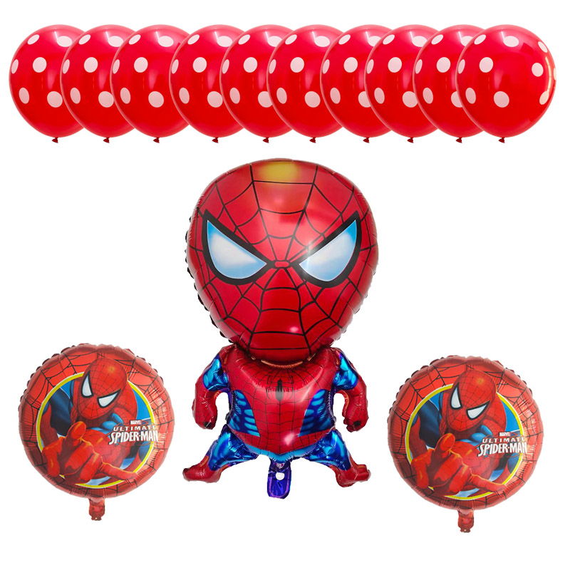 Spiderman Foil Balloons  Superhero Avengers Birthday Party Decoration Baby Shower Kids Toy Cartoon Hat