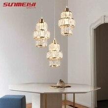 Скандинавский светодиодный подвесной светильник с кристаллами, золотой подвесной светильник для обеденного стола, бара, кухни, гостиной, современный промышленный светильник