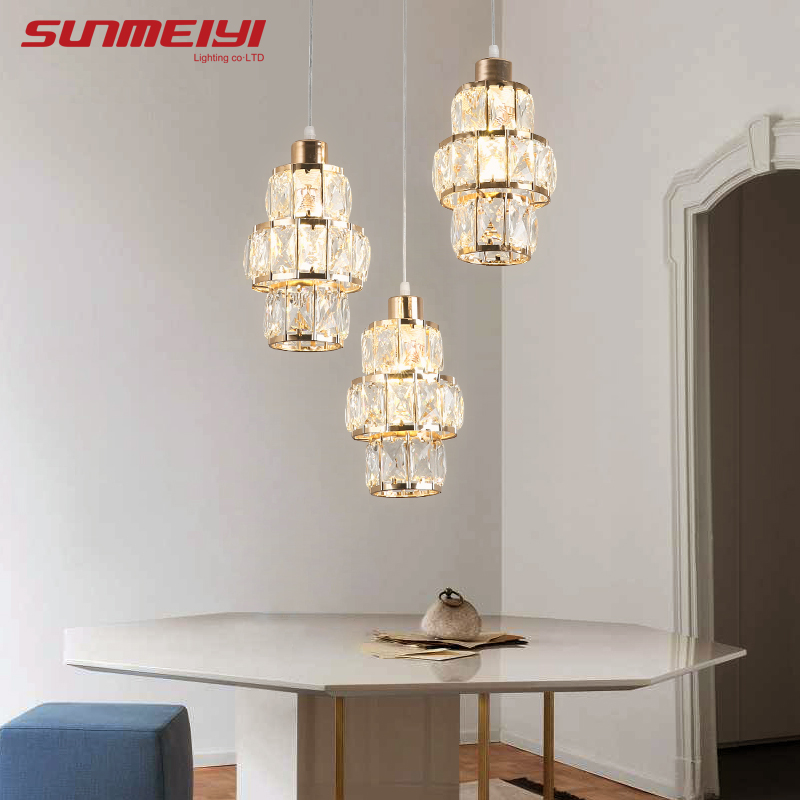 Nordic LED Pendant Lights Crystal Gold Hanging Lamp For Dining Table Bar Kitchen Living Room Lampada Industrial Modern Light
