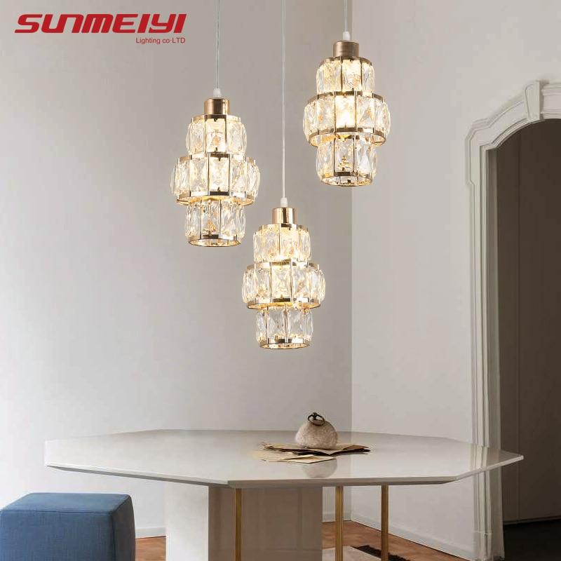 Nordic LED Pendant Lights Crystal Gold Hanging Lamp For Dining Table Bar Kitchen Living Room Lampada Industrial Modern Light