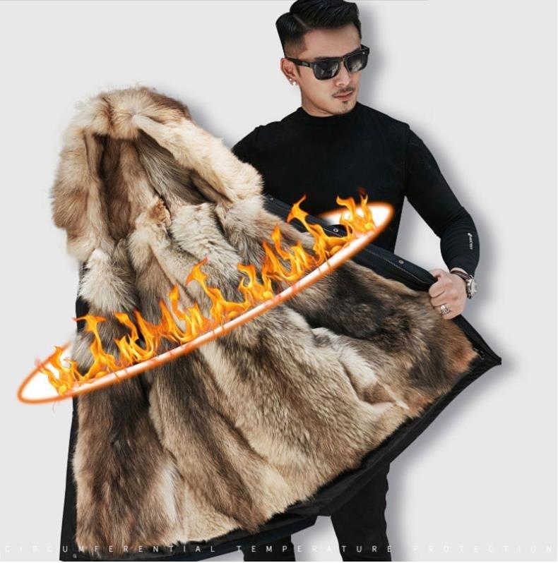 H7cb4acd1db054620910068e6070091992 Batmo winter wolf fur liner hooded jacket men, winter warm parkas men plus-size L-5XL