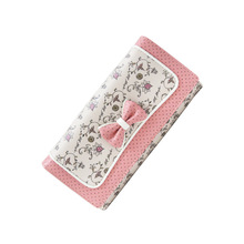 cute pink Bow Women Wallets with Zipper Pink Phone Pocket Purse Card Holder Patchwork Long Wallet Lady Coin