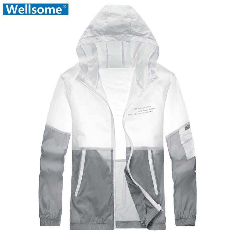 Resistência uv dos homens casaco verão secagem rápida respirável masculino jaqueta com capuz pele uv anti ultraleve jaquetas protetor solar casacos masculinos