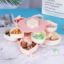 Dwuwarstwowy płatek pudełko cukierków salon obrotowy talerz na owoce Organizer na biurko kreatywne orzechy skrzynka na przekąski pudełka pojemnik