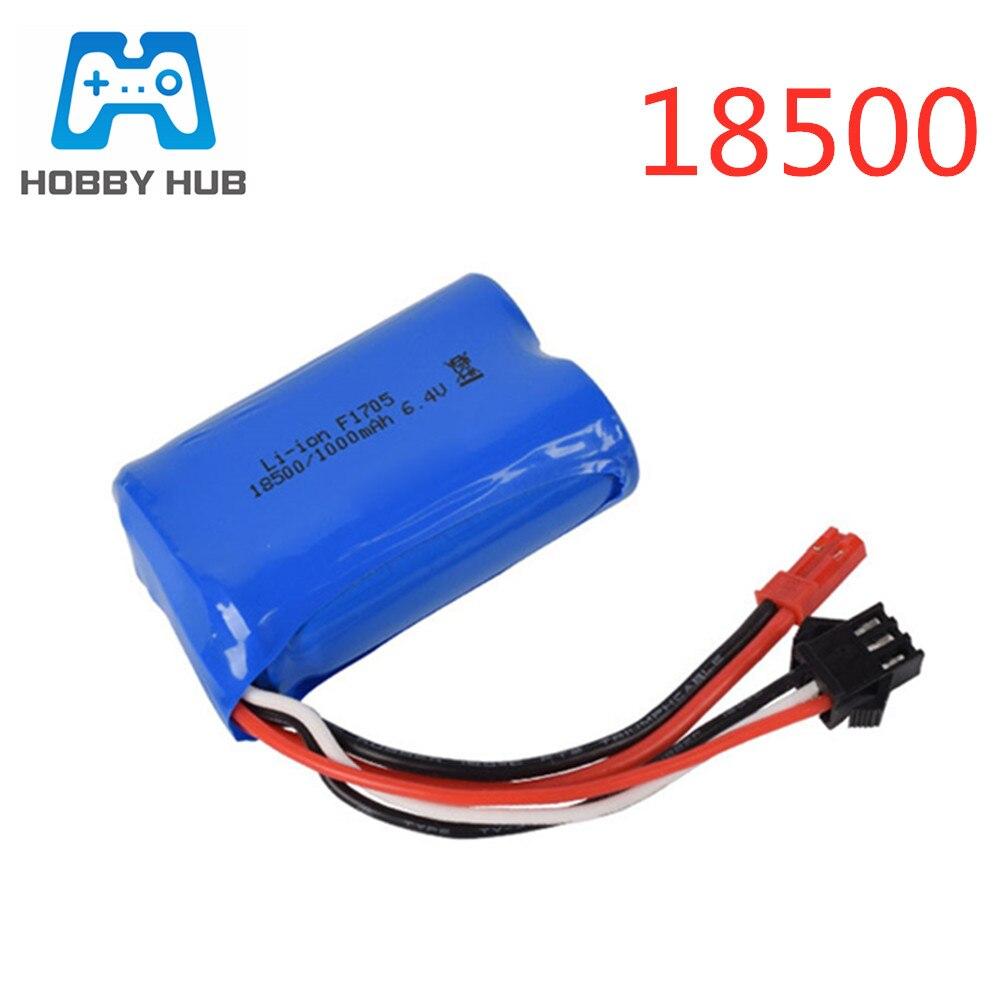 6.4v 1000mAh 15C 18500 Li-ion Battery For RC Car Toys Battery JST-2P Free Shipping