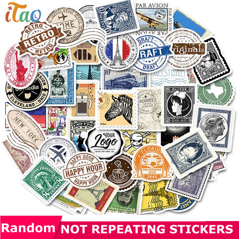10/20/30/40/50PCS Retro Stamps Stickers Waterproof PVC Skateboard Snowboard Guitar Motorcycle Luggage Laptop Sticker Kids Toys